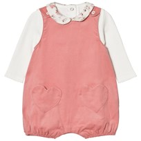 Absorba Cream Tee with Floral Collar and Pink Dungarees Set 32
