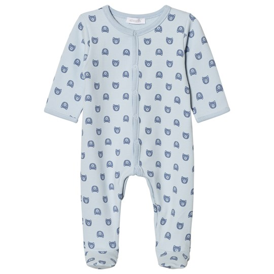 Absorba Pale Blue Bear Print Jersey Footed Baby Body