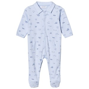 Image of Absorba Pale Blue Car Print Collared Jersey Footed Baby Body 9 months (2971912853)
