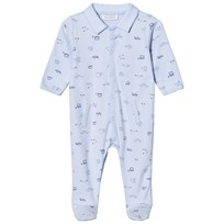 Absorba Pale Blue Car Print Collared Jersey Footed Baby Body 41
