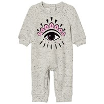 Kenzo Grey Marl Eye Print Footless Sweat Babygrow 23