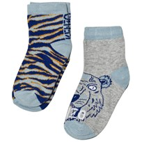 Kenzo Blue Multi Tiger and Animal Print 2 Pack of Socks 22