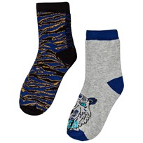 Kenzo Blue Multi Animal Print and Tiger 2 Pack of Socks 22