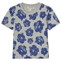 Kenzo Grey and Blue All Over Tiger Print Tee 22