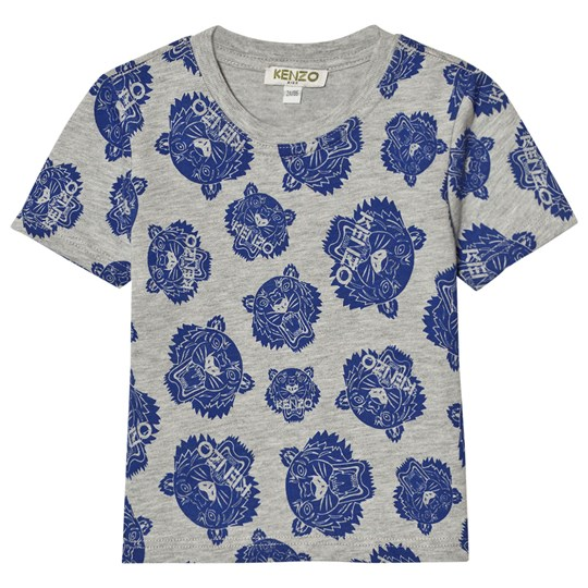 Kenzo Grey Blue All Over Tiger Print Tee 22