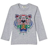 Kenzo Grey Marl Tiger Print Long Sleeve Tee 22