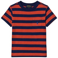 Ralph Lauren Red Stripe Pique Pocket Tee 002