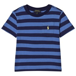 Ralph Lauren Blue Stripe Pique Pocket Tee