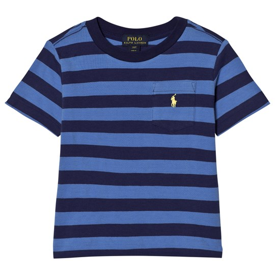 Ralph Lauren Blue Stripe Pique Pocket Tee 001
