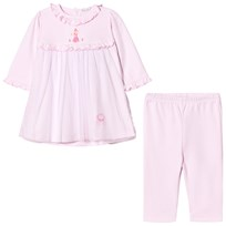 Kissy Kissy Pink Rose Princess Embroidered Tulle Front Dress and Leggings Set PK