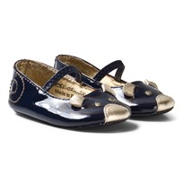 Little Marc Jacobs Navy and Gold Mouse Print Crib Shoes 85V