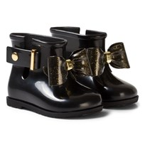 Mini Melissa Sugar Rain Bow Rain Boots Black and Gold Glitter Bow Black