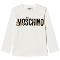Moschino Kid-Teen White Multi Bear Logo Long Sleeve Tee 10063