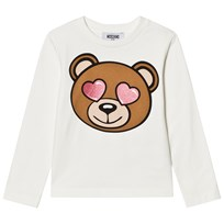 Moschino Kid-Teen White Heart Eye Bear Print Tee 10063