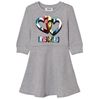 Moschino Kid-Teen Grey Rainbow Heart Branded Sweat Dress 60901