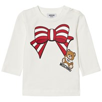 Moschino Kid-Teen Cream Christmas Bow Bear Tee 10063