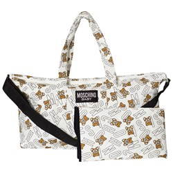 Moschino Kid-Teen White All Over Bear Branded Print Changing Bag