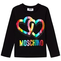 Moschino Kid-Teen Black Rainbow Heart Logo Long Sleeve Tee 60100
