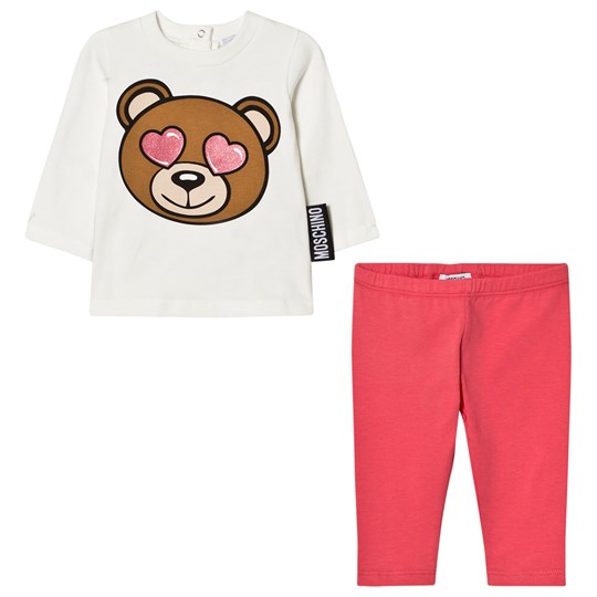 Moschino Kid-Teen Cream and Pink Heart Eye Bear Print Tee and Leggings Set 50349
