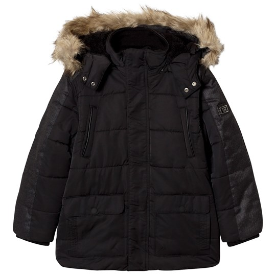 Mayoral Black Padded Parka with Faux Fur Hood 79