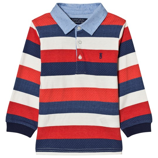 Mayoral Red, White and Navy Stripe Polo 52
