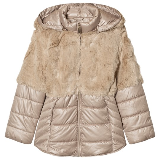 Mayoral Beige Faux Fur Puffer Coat 30