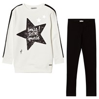 Mayoral White Glitter Star Print Tee and Leggings Set 94