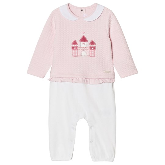 Mayoral Pink and White Castle One-Piece with Frill Waist 69
