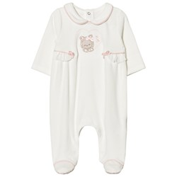 Mayoral Cream Kitten Applique Velour Footed Baby Body