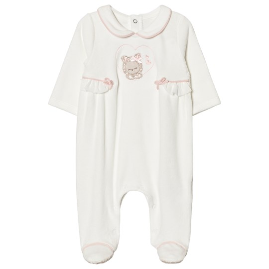Mayoral Cream Kitten Applique Velour Footed Baby Body 60