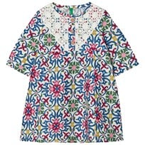 United Colors of Benetton Tile Print Smock Dress with Lace Multi