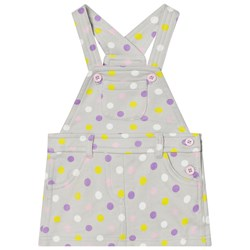 United Colors of Benetton Jersey Polka Dot Dungaree Dress Light Grey