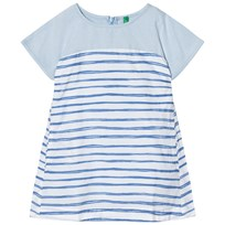 United Colors of Benetton Stripe A Line Smock Dress With Hidden Pockets S/s Blue White Blue White