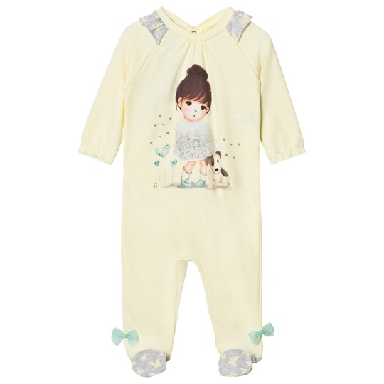United Colors of Benetton Girl Print L/s Overall With Frill Shoulder Details (pyjamas) Lemon Lemon