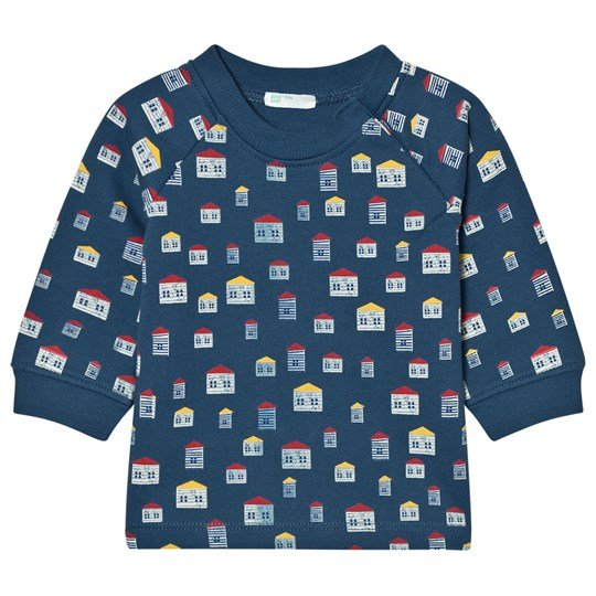 United Colors of Benetton House Print L/s Jersey Sweater Navy Navy