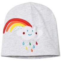 United Colors of Benetton Jersey Beanie With Rainbow Detail Grey Black