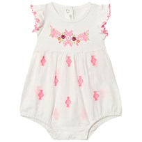 United Colors of Benetton Frill Sleeve Romper with Embroidery White