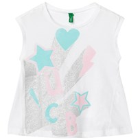 United Colors of Benetton A-Line Fit Sparkle Print White T-shirt White