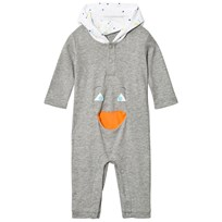 United Colors of Benetton Hooded Onesie with Pocket Detail Grey Black