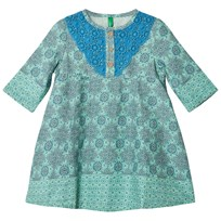 United Colors of Benetton Tile Print Smock Dress with Crochet Embroidery Multi