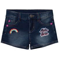 United Colors of Benetton Denim Shorts with Rainbow Stitchingith Patches And Multi Coloured Stitch Blue Blue