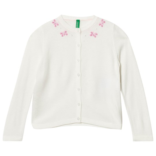 United Colors of Benetton Fine Knit White Cardigan with Butterfly Details White