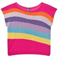 United Colors of Benetton Knitted Boxy Fit Sweater Top with Rainbow Stripes Pink