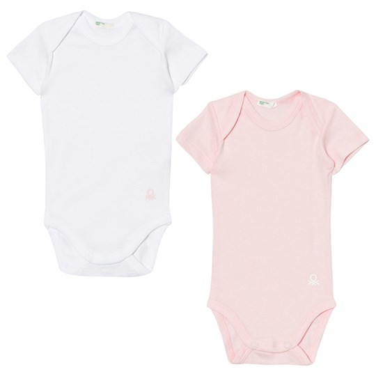 United Colors of Benetton 2-Pack Short Sleeved Baby Body White/Pink WHITE PINK