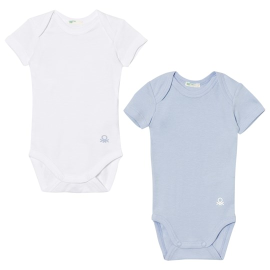 United Colors of Benetton 2-Pack Short Sleeve Baby Body White/Blue WHITE BLUE