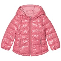 United Colors of Benetton Printed Puffer Jacket With Hood Pink Pink
