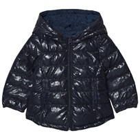 United Colors of Benetton Printed Puffer Jacket With Hood Navy Laivastonsininen