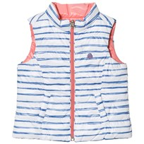 United Colors of Benetton Reversible Stripe Puffer Vest Pink/White/Blue WHITE BLUE