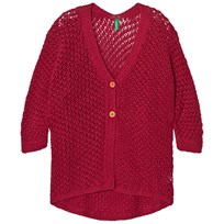 United Colors of Benetton Loose Knit Cardigan Fuschia Pink Fuschia Pink