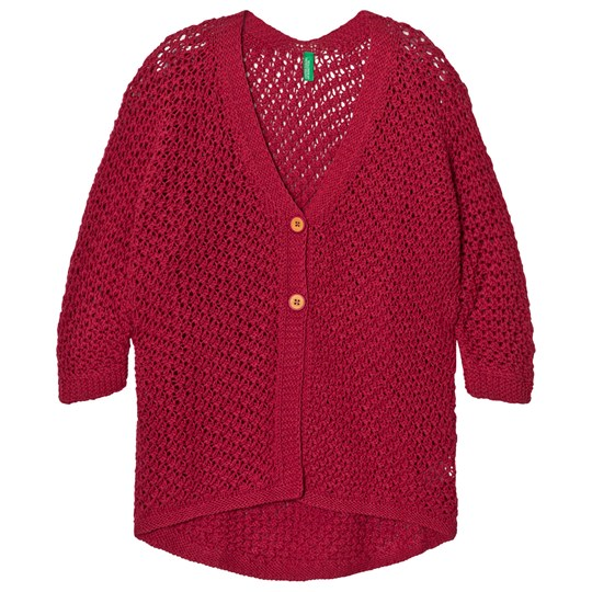 United Colors of Benetton Loose Knit Longline V Neck Two Button L/s Cardigan Fuschia Pink Fuschia Pink